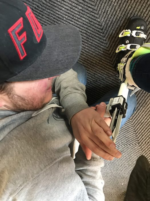 Bradley from Finches Ski Emporium injects the Liquid in the liner pouches - something like custard to fill up the empty spaces and get my ankles snugged inside the boot liners. Review on the Head Nexo Lyt 100 W G Ski Boots 2019.