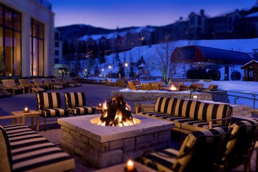 A fire pit in the terrace of the Park Hyatt Beaver Creek, located slopeside. Where to Stay in Beaver Creek. The Most Expensive Ski Resorts in the USA.
