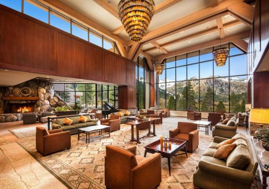 One of the seating areas at the Resort at Squaw Creek. The Most Expensive Ski Resorts in the USA.
