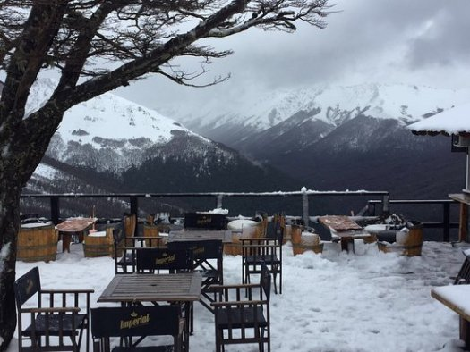 A restaurant terrace on a cloudy day at Cerro Bayo. Cerro Bayo to create a new chairlift departure at 1400 meters.