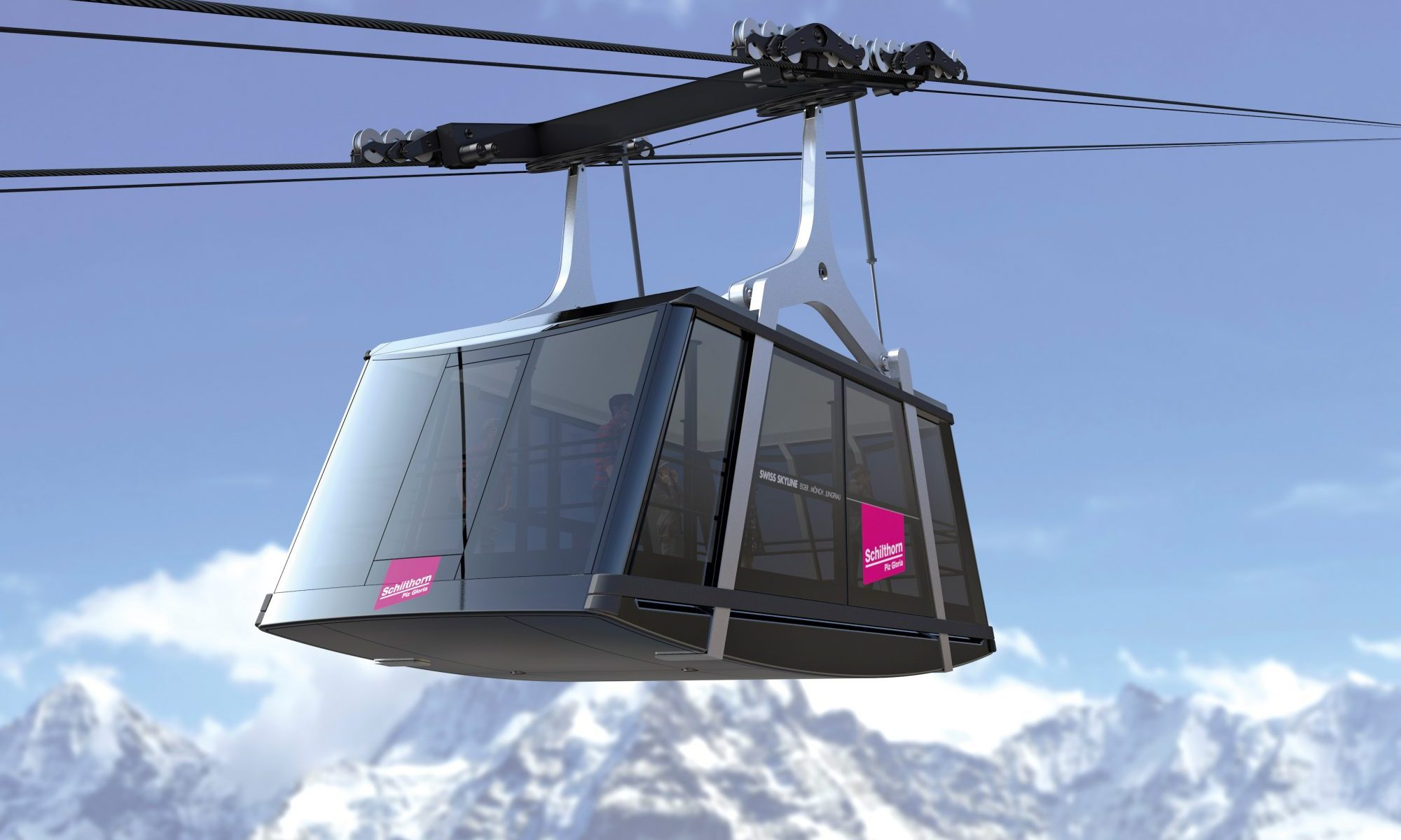 Cabin of the Schilthorn new funicular. Doppelmayr/Garaventa to build on the Schilthorn. Picture courtesy of Doppelmayr-Garaventa.
