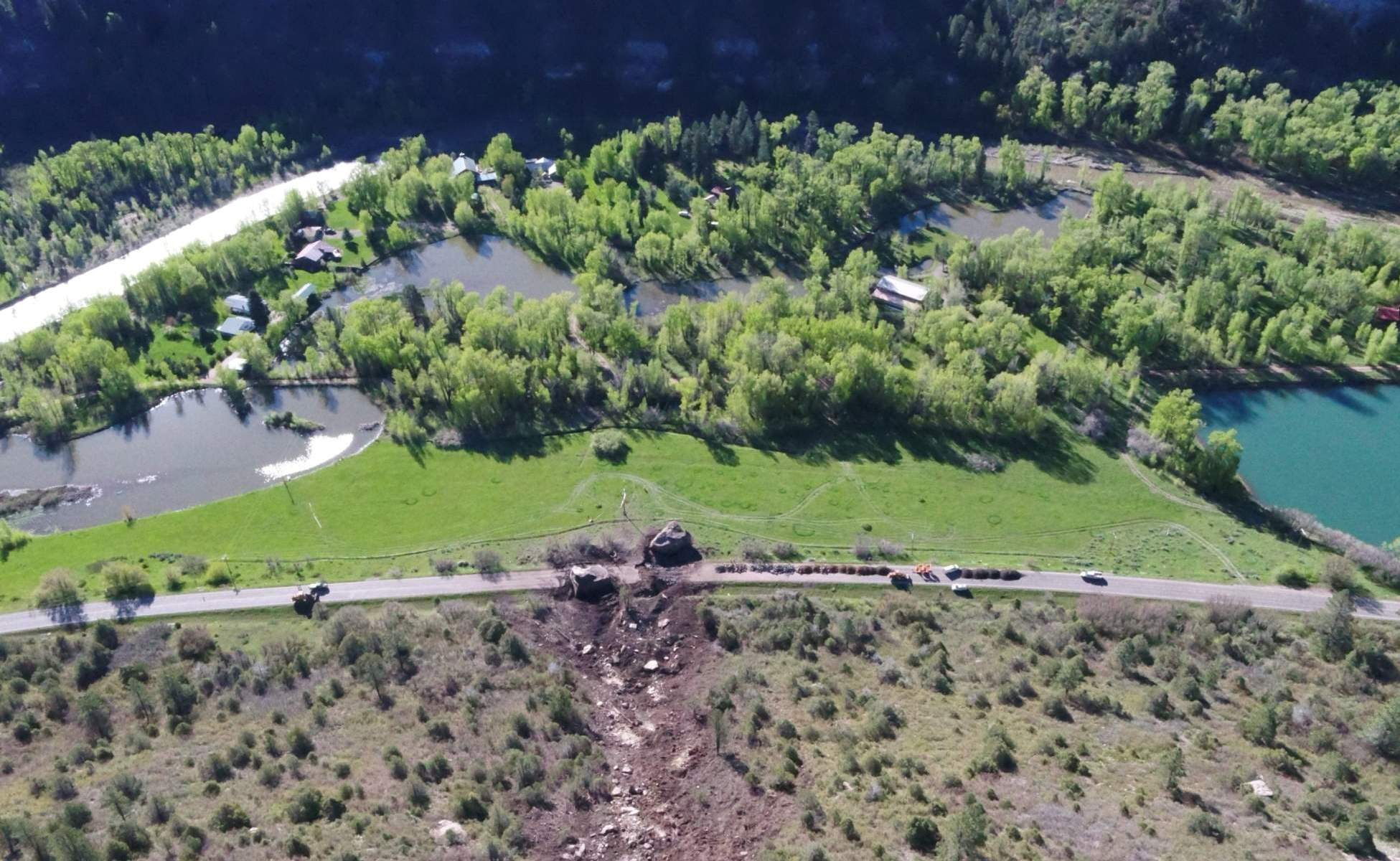 An aerial image of the road obstruction. Photo: CDOT. A Rockslide, with a boulder of a size of a house, wiped out a section of the highway in SW Colorado