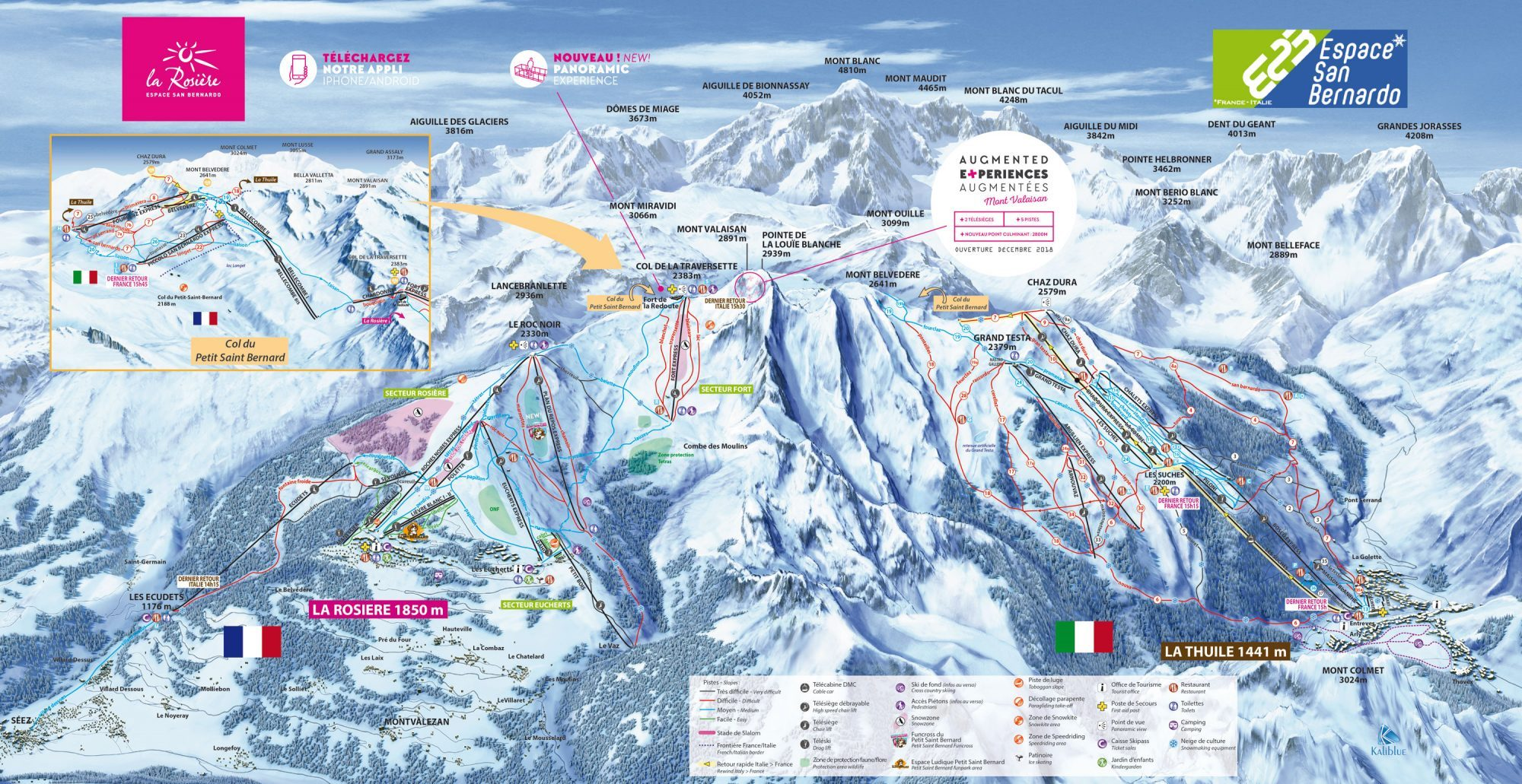 Work is underway to open the Petit St Bernard Pass – up to 7 meters of snow. Ski Map of La Rosière and La Thuile.