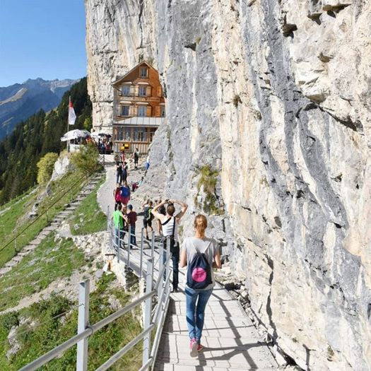 Cliffhanging restaurant opens for the season in Switzerland: Äscher Mountain Restaurant.