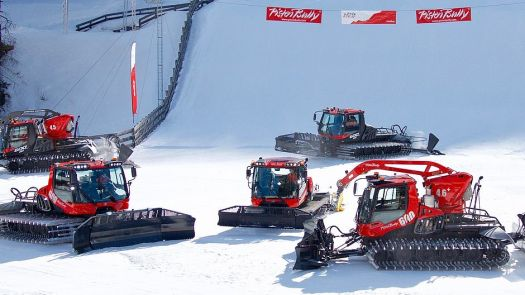 The art of snow grooming - PistenBully picture. Red Road Show in Italy. How ski grooming patterns can affect visibility in the snow.