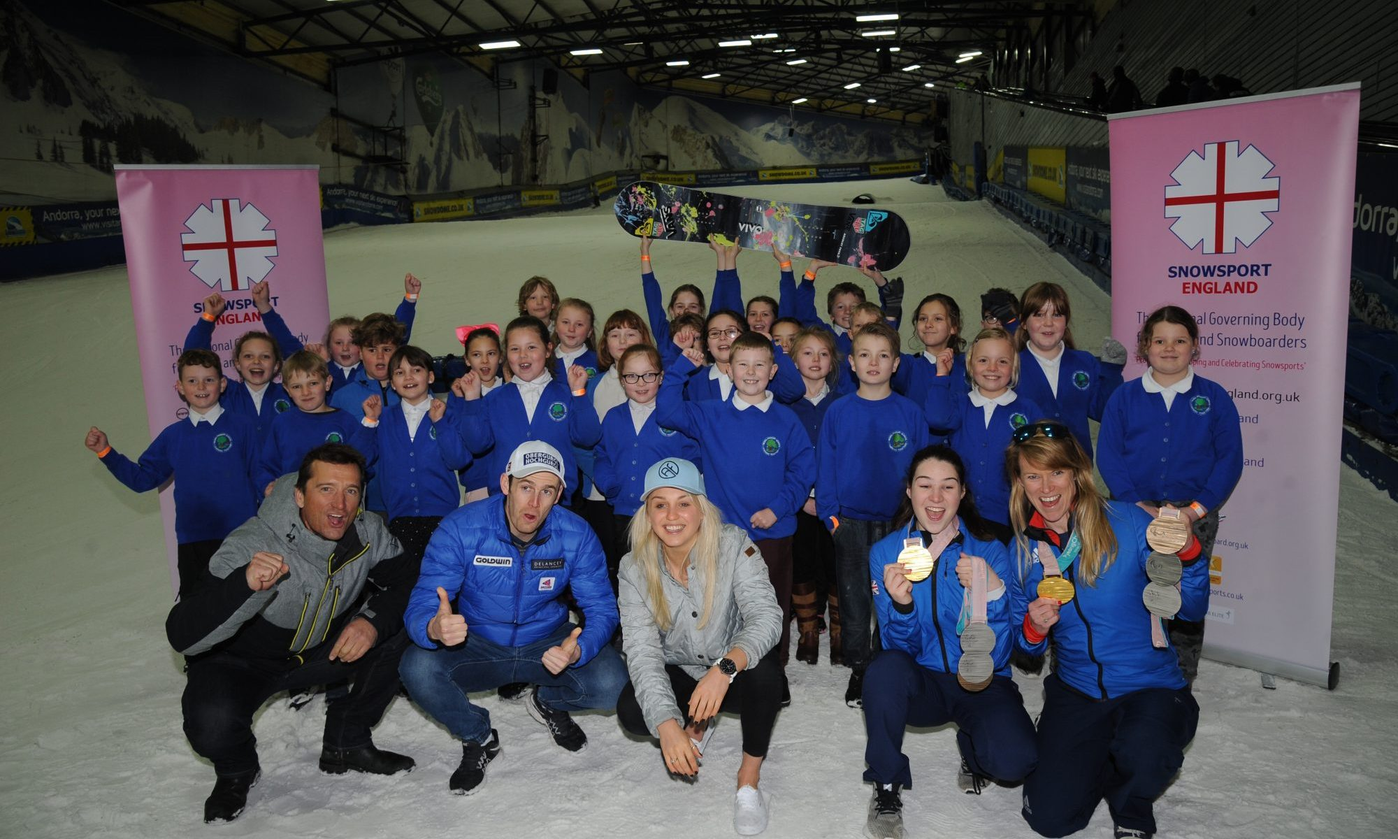 Winter Olympians, British snowboarder Aimee Fuller and British alpine skier Dave Ryding and Paralympic gold medallists Menna Fitzpatrick and Jen Kehoe and Ski Sunday's Graham Bell join over 30 lucky pupils at a National Schools Snowsport Week launch event at The SnowDome in Tamworth. PRESS ASSOCIATION Photo. Picture date: Monday April 16th, 2018. Photo credit should read: Rui Vieira/PA Wire. National Schools Snowsport Week is Back This Month.