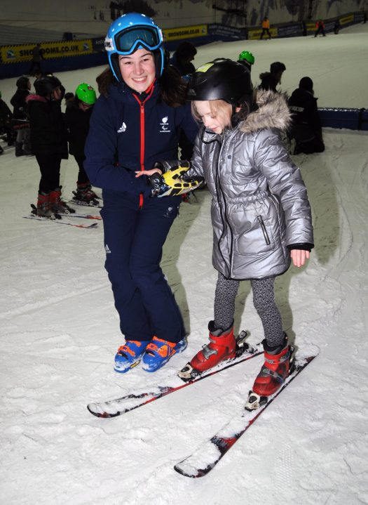 Paralympic gold medallist Menna Fitzpatrick joins over 30 lucky pupils at a National Schools Snowsport Week launch event at The SnowDome in Tamworth. PRESS ASSOCIATION Photo. Picture date: Monday April 16th, 2018. Photo credit should read: Rui Vieira/PA Wire. National Schools Snowsport Week is Back This Month.