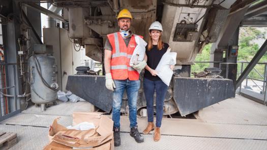 Laura Tinham and Nick Burnett - MacRebur Switzerland. Photo: RRO. Zermatt to try recycled plastic 'green' road re-surfacing project