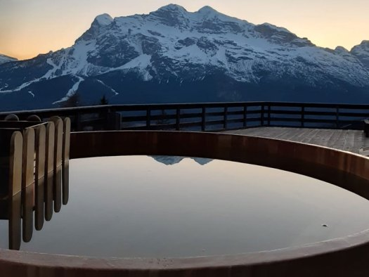 A new wooden outside hot-tub at the Rifugio Mietres. Where to eat in Cortina d' Ampezzo.