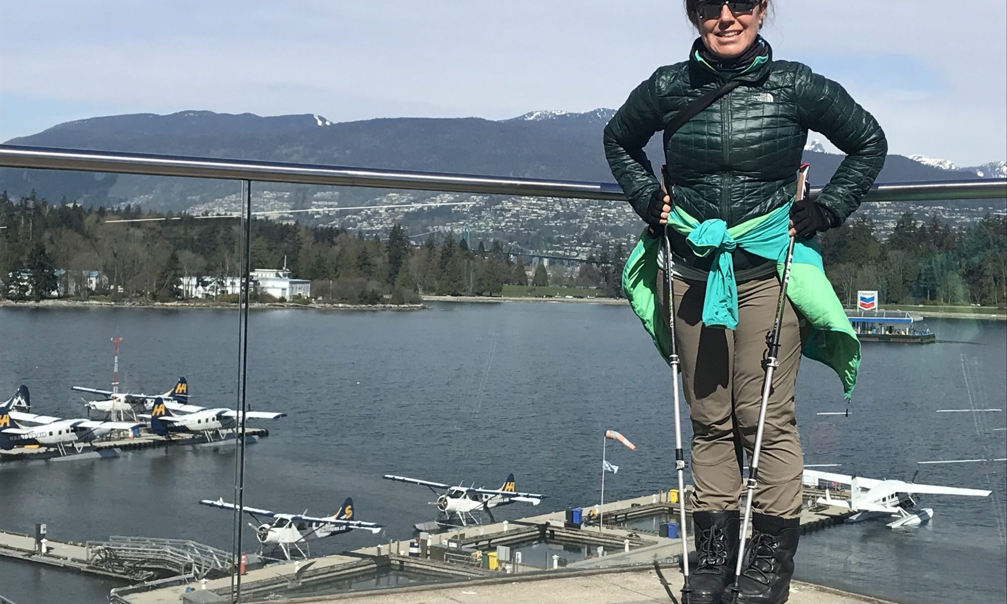 Training in the off-season for the ski-season - Nordic Walking. Nordic Walking in Vancouver - Waterfront.