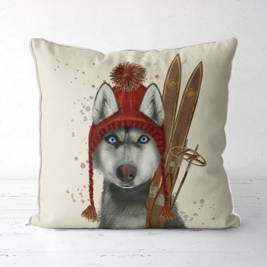 Etsy ski HUSKY pillow. FabFunky Pillows.