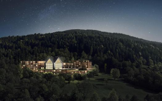 Lefay Resort and Spa Dolomiti- Exterior. Pinzolo/Madonna di Campiglio has opened its first 5 stars luxury hotel- Lefay Resort & Spa Dolomiti.