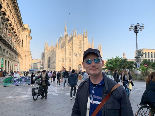 My husband with his TOYSHADES by il Duomo in Milan.