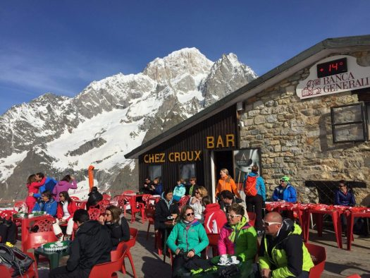 Chez Croux's terrace. Views of Monte Bianco behind. A Foodie Guide to on-Mountain Dining in Courmayeur.