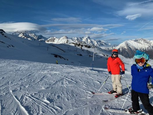 The boys skiing late in the afternoon in La Thuile. Our half term ski-safari holiday based in the Valdigne of Aosta Valley- Courmayeur, Pila and La Thuile.