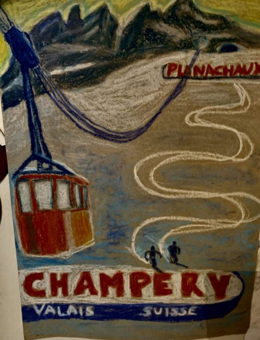 Oil pastels of the cablecar in Champery. The Art of the Mountains.