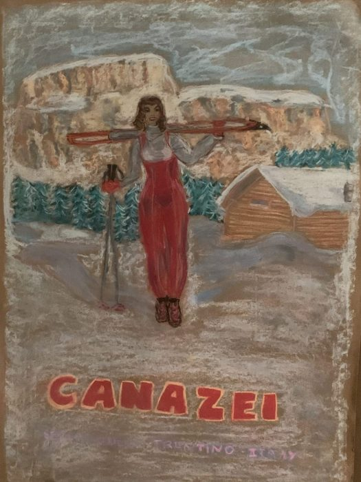 A girl with the Dolomites in the backdrop in Canazei. Soft Pastels. The Art of the Mountains.