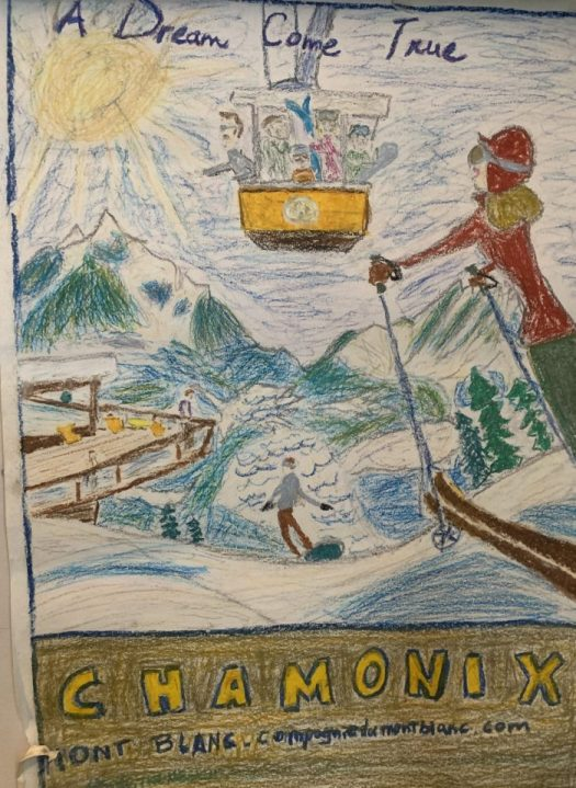 Oil pastel- Chamonix- they are the crayons for adults. The Art of the Mountains.