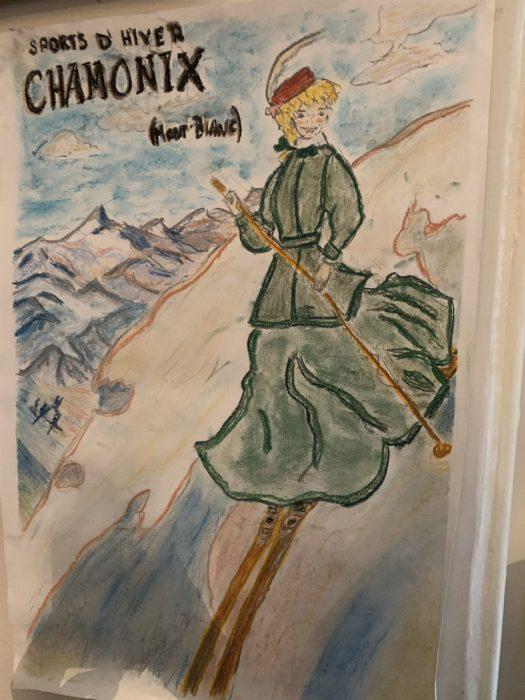 Chamonix skier. Soft pastels. The Art of the Mountains.