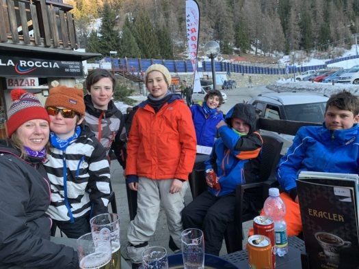 Part of the group at the après-ski by the top cablecar of Pila. Our half term ski-safari holiday based in the Valdigne of Aosta Valley- Courmayeur, Pila and La Thuile.