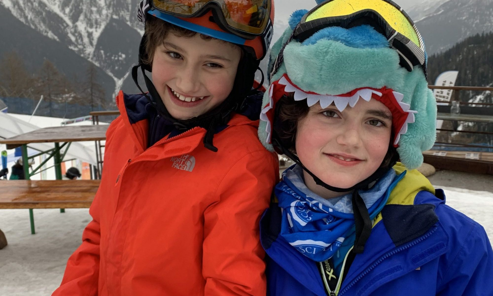 Our half term ski-safari holiday based in the Valdigne of Aosta Valley- Courmayeur, Pila and La Thuile. The boys happy after a great ski day.