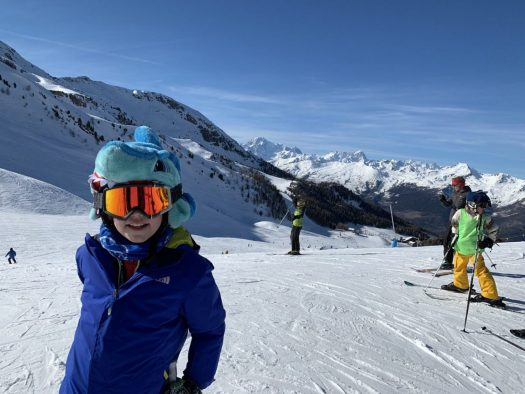 My little one in Pila. Our half term ski-safari holiday based in the Valdigne of Aosta Valley- Courmayeur, Pila and La Thuile.