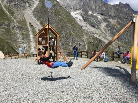 My eldest in the playground at Pavillion. Aiguille du Midi vs Punta Helbronner – which one you should do?t