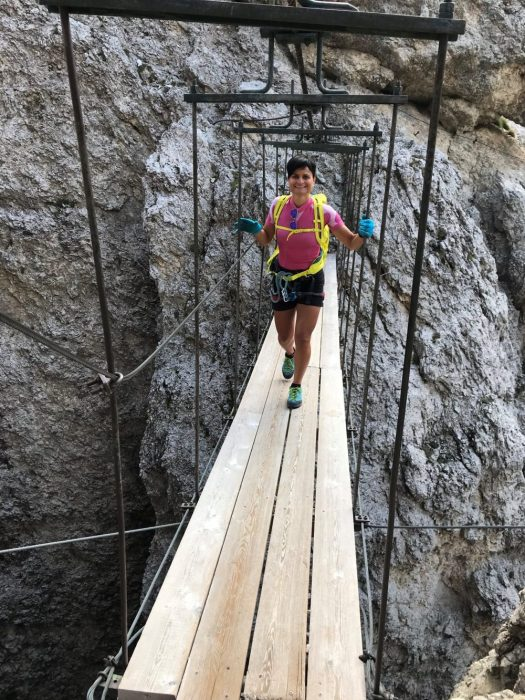 Crossing the Tridentina bridge on the via ferrata of same name. Photo: Claudia Rier/IDM Sudtirol. A Must-Read Guide to Summer in South Tyrol.