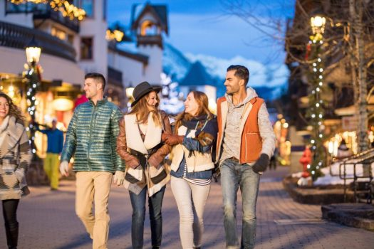 Young and Independents walk in the outdoor nightlife in Vail, CO. Photo: Craig Orsini. Vail Resorts. The Must-Read Guide to Vail.