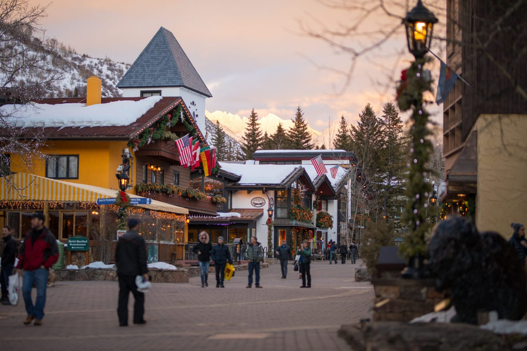 Vail's iconic village with the Gore Range Mountains capturing the sunset in Vail, CO. Photo- Craig Orsini, Vail Resorts. The Must-Read Guide to Vail.