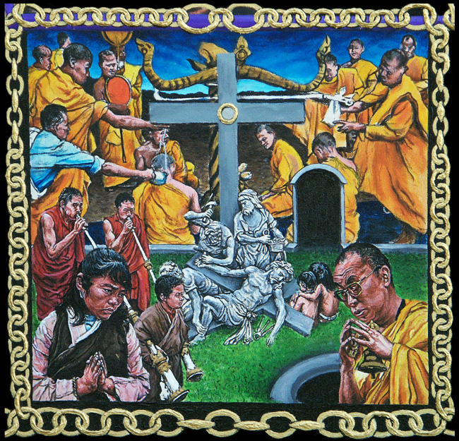 11. Crucifixion: Jesus is nailed to the cross.