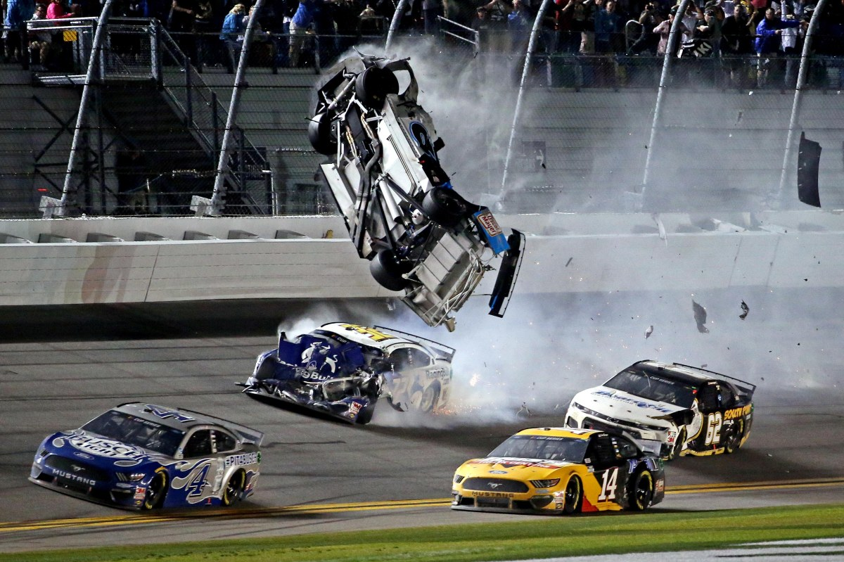 The No. 6 Ford went airborne during the final lap of the race in Florida
