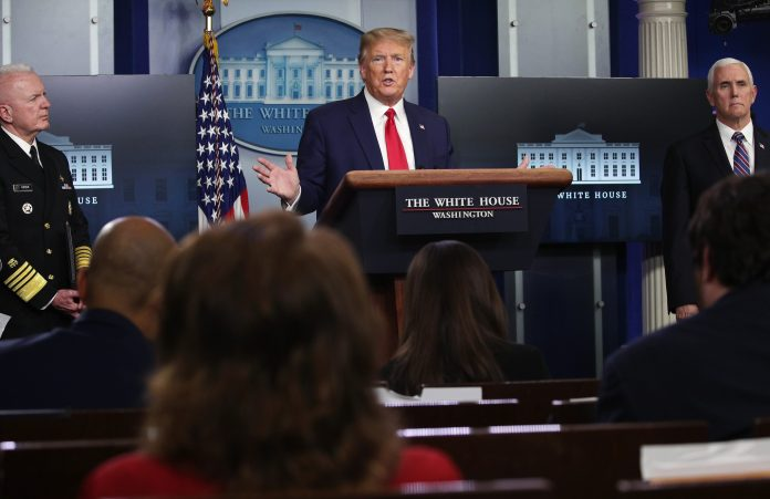 President Trump addresses journalists Monday