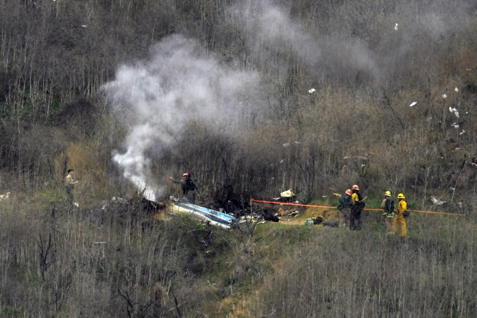 Helicopter crashed on a hill in Calabasas, California