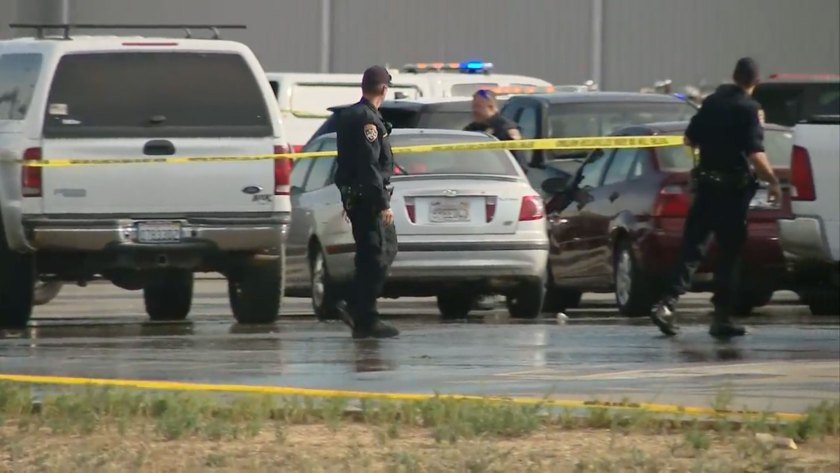 The shooter rammed his vehicle into a Walmart building and opened fire today, leaving two dead and four hurt