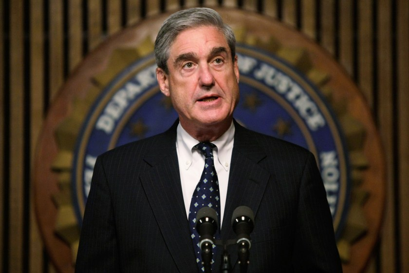 Mueller speaks during a press conference at the FBI headquarters in June 2008