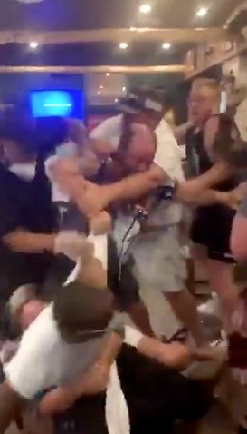 At least eight people were caught up in the brawl