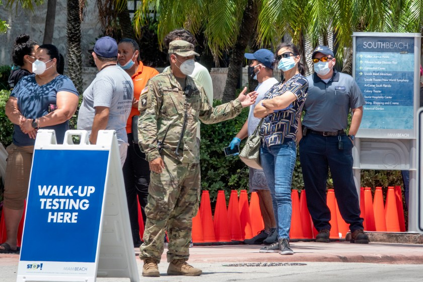 military man patients waiting to get COVID-19 test