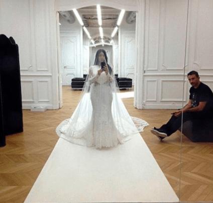 Kim showed off the wedding dress in full