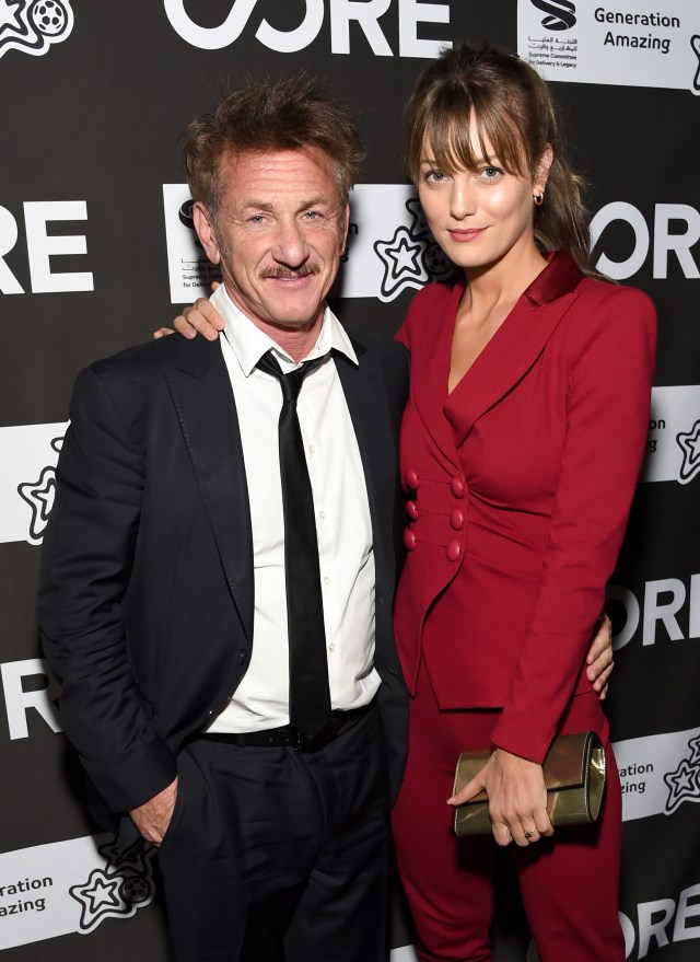Sean Penn with his now-wife Leila George