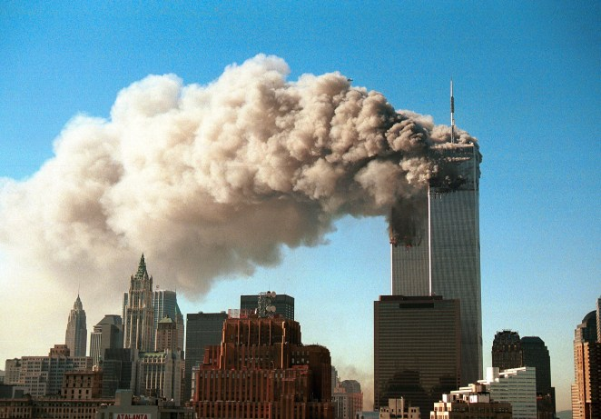 Smoke pours from the twin towers of the World Trade Center after the terrorist attack on September 11, 2001