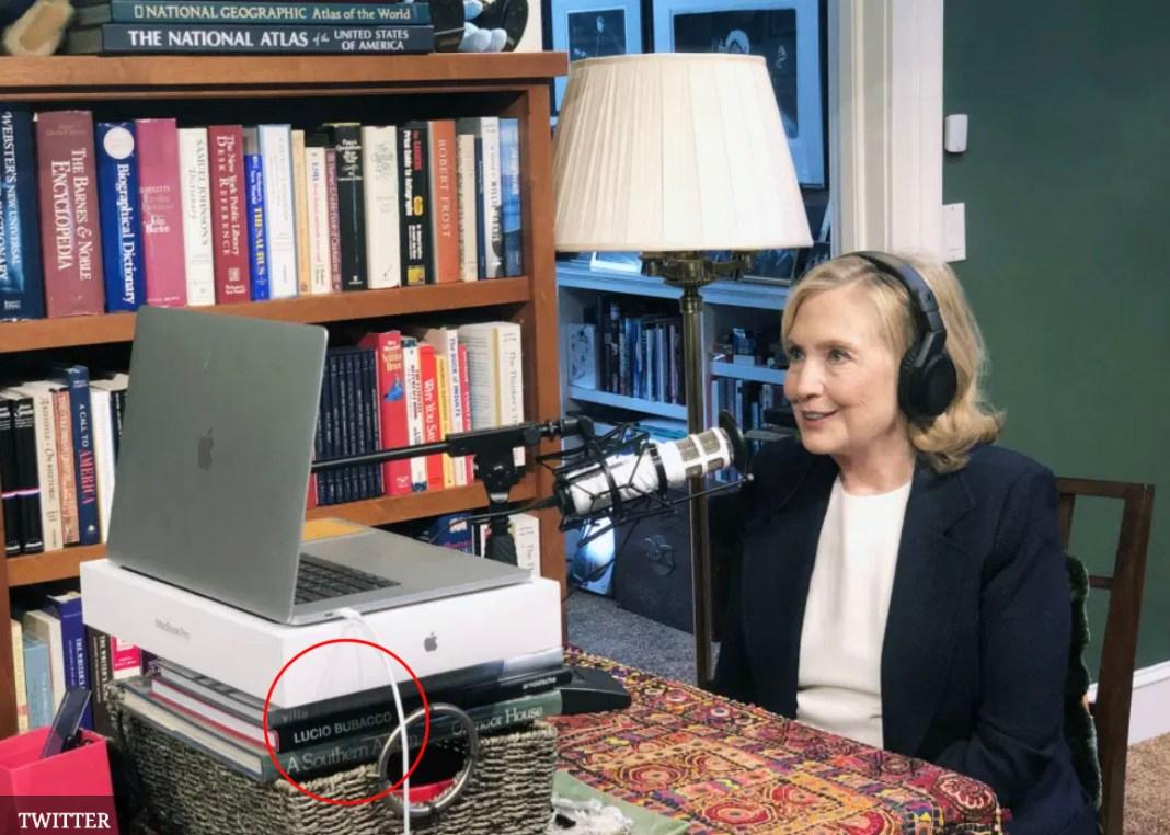 QAnon followers noticed the book under Clinton's laptop