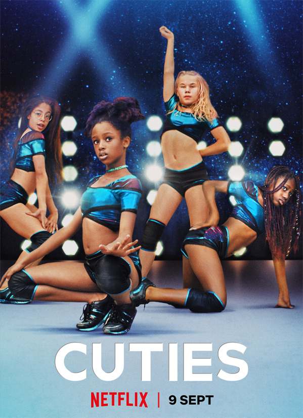 The film poster for Cuties shows four young teenage girls wearing skimpy outfits