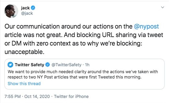 Twitter CEO Jack Dorsey admitted that his company blocking URL sharing of The New York Post story was 'unacceptable'