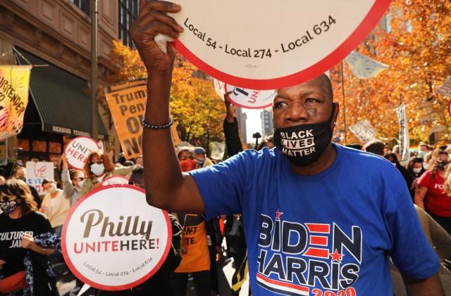 Biden supporters celebrated his Pennsylvania lead
