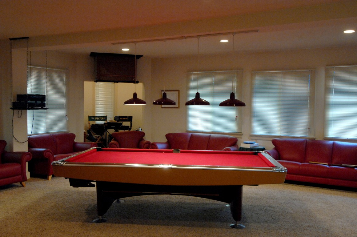 The media and pool room where Spector used to spend time with friends