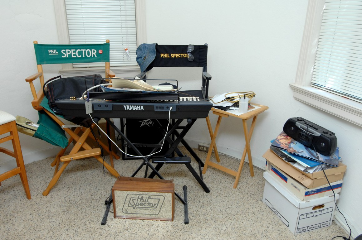 Some of the recording equipment and seats belonging to the Grammy-winning artist