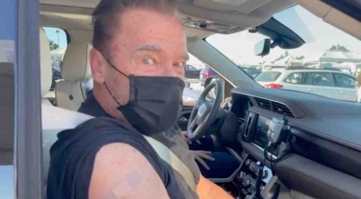 Arnold Schwarzenegger, 73, gets his Covid jab at a Los Angeles vaccination center