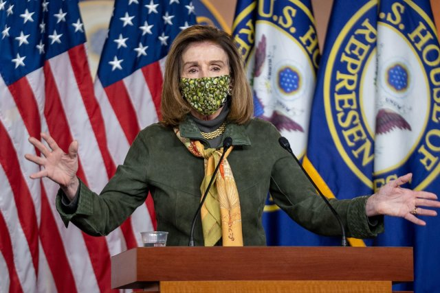 Donald Trump trolled Nancy Pelosi (pictured) in the statement calling her 'crazy'
