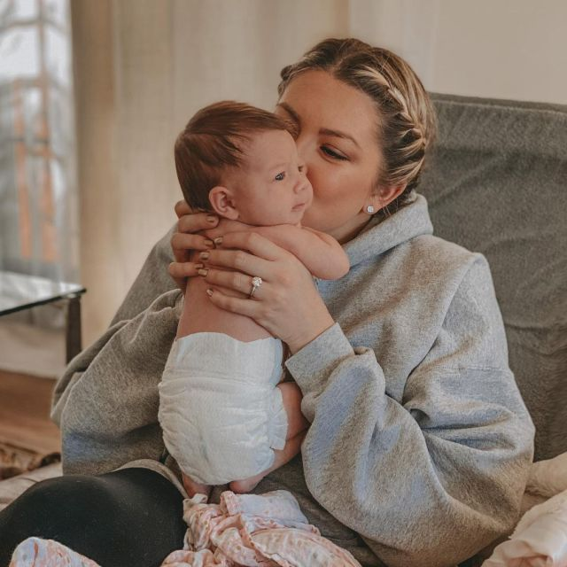 Stassi became a first time mother in January